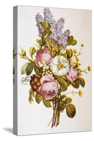 Illustration Depicting a Bouquet of Roses and Lilacs