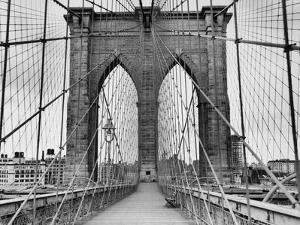 Pedestrian Walkway on the Brooklyn Bridge by Bettmann