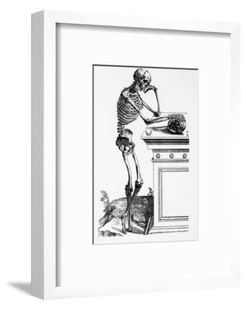 Print of a Skeleton Contemplating a Skull