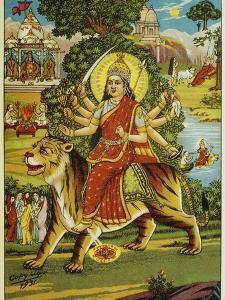 The Goddess Durga Color Lithograph by Bettmann