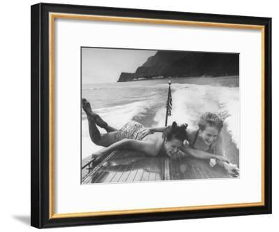Betty Brooks and Patti McCarty Motor Boating at Catalina Island-Peter Stackpole-Framed Premium Photographic Print