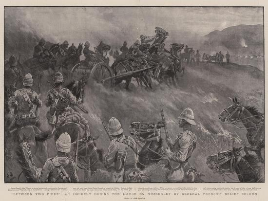 Between Two Fires, an Incident During the March on Kimberley by General French's Relief Column-John Charlton-Giclee Print