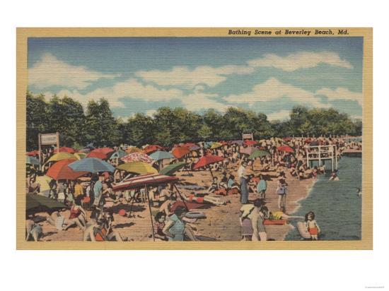 Beverley Beach, MD - Sunbathing Scene-Lantern Press-Art Print