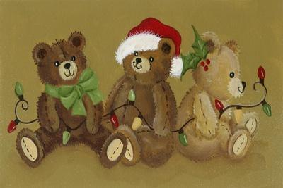 3 Christmas Teddy Bears Strewn with Lights