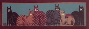 6 Cats with Border by Beverly Johnston