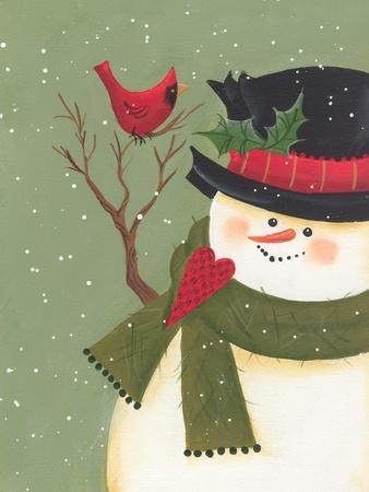 A Snowman with a Cardinal Perched on His Arm