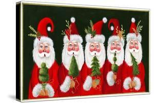 A Variety of Santas Holding Trees by Beverly Johnston
