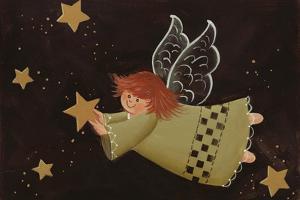 Flying Angel Holding Starstars in Background by Beverly Johnston