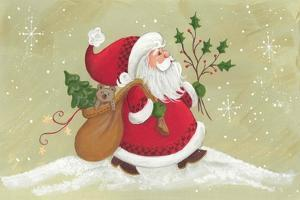 Santa with a Sack of Toys and a Holly Branch by Beverly Johnston
