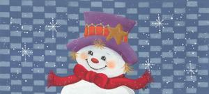 Snowman Against Checkered Background by Beverly Johnston