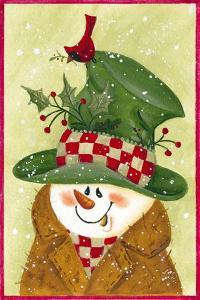Snowman in Brown and Green by Beverly Johnston