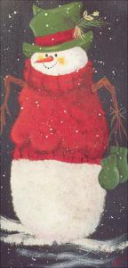 Snowman in Green Hat and Mittens with a Red Sweater On by Beverly Johnston