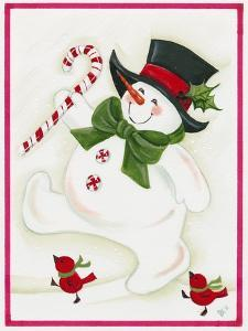 Snowman Marching with 2 Birds by Beverly Johnston