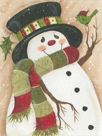 Snowman with Green Bird
