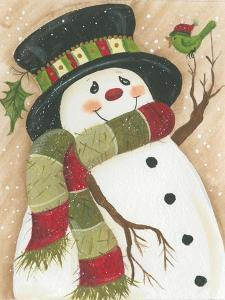 Snowman with Green Bird by Beverly Johnston