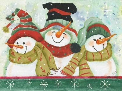 Trio of Snowmen Wearing Hats, Scarves