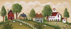 Village Scene Sheep Throughout by Beverly Johnston