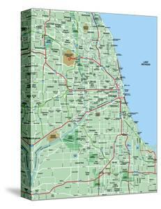 Beautiful Maps of Chicago, IL canvas artwork for sale, Posters and ...