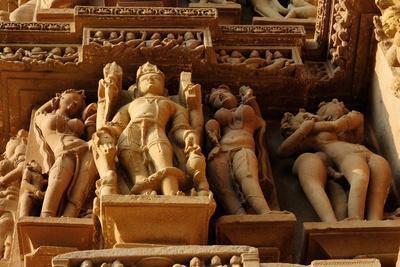 Sculptures on Jain Temple, Khajuraho, UNESCO World Heritage Site, Madhya Pradesh, India, Asia