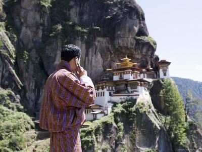 Bhutanese Man with Cell Phone, Taktshang Goemba (Tiger's Nest) Monastery, Paro, Bhutan, Asia-Angelo Cavalli-Photographic Print