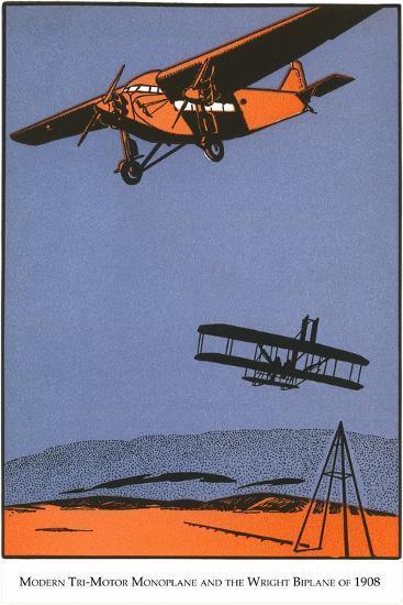 Bi-Plane and Monoplane-Found Image Press-Giclee Print