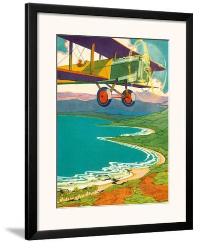 Bi-Plane Over The Hawaii Coastline, c.1928-Lucille Webster Holling-Framed Giclee Print
