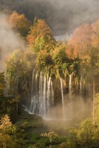 Veliki Prstavci Waterfalls Close to Gradinsko Lake, Dawn, Upper Lakes, Plitvice Lakes Np, Croatia by Biancarelli