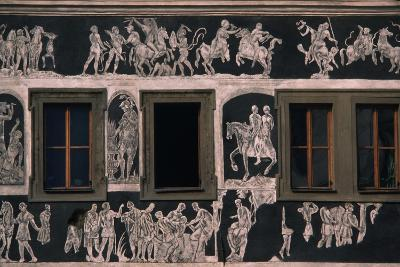 Biblical and Mythological Scenes, Sgraffito-Decorated Facade of Dom U Minuty, House at Minute--Giclee Print