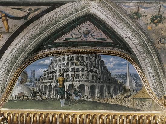 Biblical Scene and Tower of Babel--Giclee Print