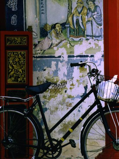 Bicycle Against Muralled Wall of Chinese Temple at Marudi, Sarawak, Malaysia-Mark Daffey-Photographic Print