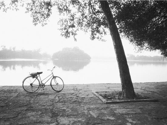 Bicycle and Bay Mau Lake Lenin Park-Walter Bibikow-Photographic Print
