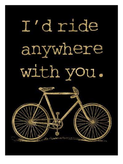 Bicycle I'd Ride Anywhere Golden Black-Amy Brinkman-Art Print