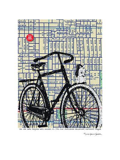 Bicycle On Hawthorne Portland--Art Print