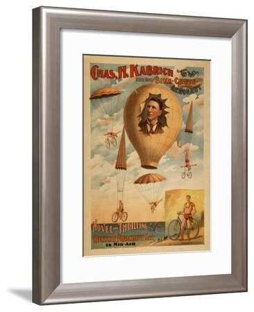 Bicycle Parachute act in mid-air Theatre Poster-Lantern Press-Framed Art Print