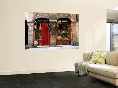 Bicycle Parked Outside Historic Food Store, Siena, Tuscany, Italy-John Elk III-Wall Mural