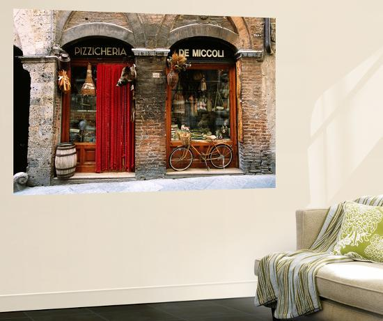 Bicycle Parked Outside Historic Food Store, Siena, Tuscany, Italy-John Elk III-Giant Art Print