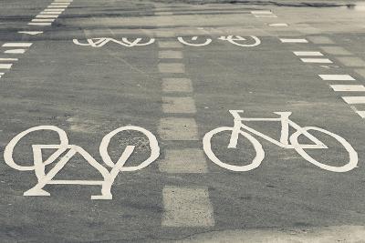 Bicycle Path Road Markings, Vancouver, British Columbia, Canada-Walter Bibikow-Photographic Print