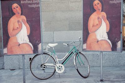 Bicycle Standing Between Nude Painting of Ladies , Zurich , Switzerland--Photographic Print