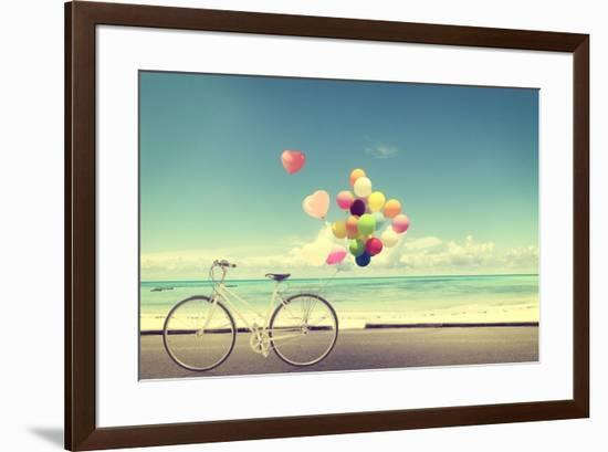 Bicycle Vintage with Heart Balloon on Beach Blue Sky Concept of Love in Summer and Wedding-jakkapan-Framed Photographic Print