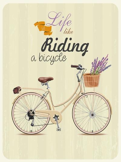 Bicycle with Lavender in Basket. Poster in Vintage Style. Vector Illustration.-Tatsiana Tsyhanova-Art Print