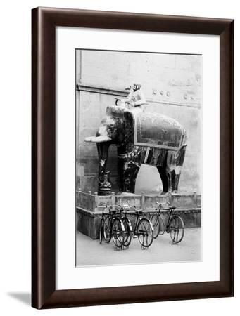 Bicycles and Elephant, Junagadh Fort, Bikaner, Rajasthan, India, 1984--Framed Photographic Print