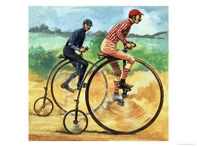 Bicycles Down the Ages. the Penny Farthing-Peter Jackson-Giclee Print
