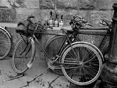 Bicycles Leaning Against the Concrete Wall-Carl Mydans-Photographic Print