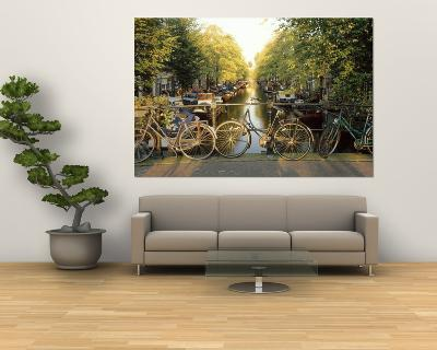 Bicycles on Bridge Over Canal, Amsterdam, Netherlands--Giant Art Print