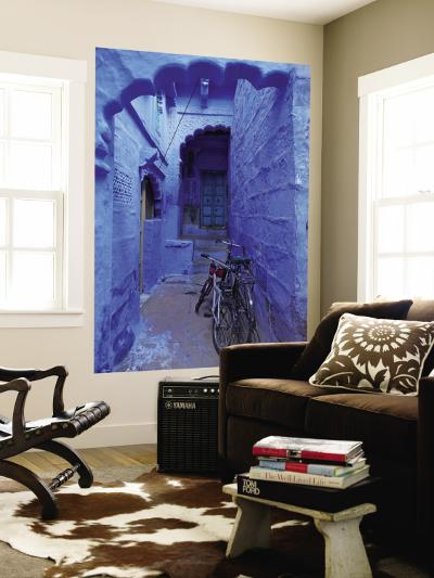Bicycles Parked in Blue-Painted Laneway-Johnny Haglund-Wall Mural