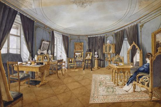 Biedermeier Style Blue Circular Hall, Circa 1841, Watercolor, Austria, 19th Century--Giclee Print