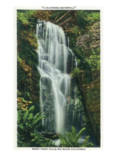Big Basin, California - Berry Creek Falls Scene-Lantern Press-Art Print