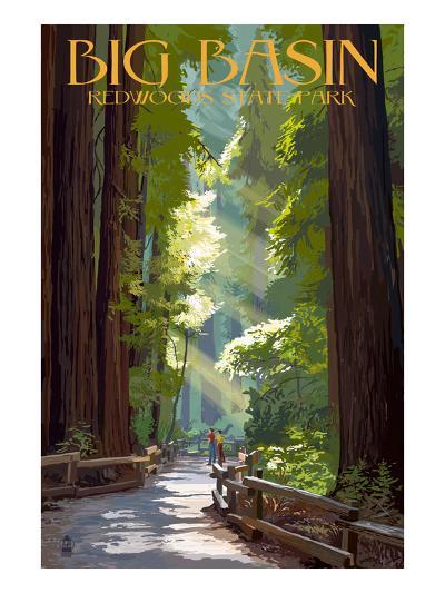 Big Basin Redwoods State Park - Pathway in Trees-Lantern Press-Art Print