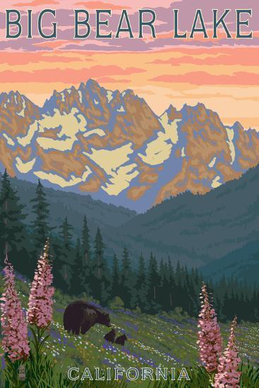 Big Bear Lake, California - Bears and Spring Flowers-Lantern Press-Art Print