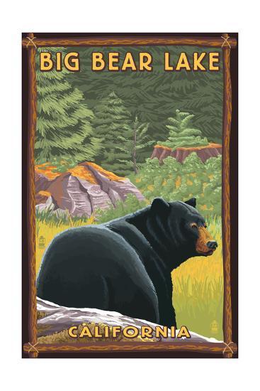 Big Bear Lake, California - Black Bear in Forest-Lantern Press-Art Print